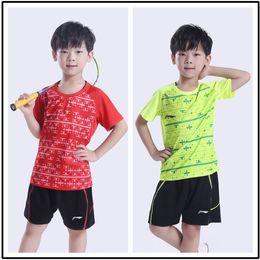 Wholesale New Girls Tennis Clothes - LiNing new Children badminton Shirts,kids Competition training Jersey,sports training clothes,boys girls table tennis shirts shorts XS-3XL