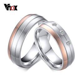Wholesale finger promise ring - Vnox Trendy Wedding Ring Titanium Steel Female Male Promise Finger Anel One Price High Quality