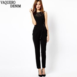 Wholesale Lace Rompers Xs - Wholesale- New Jumpsuits 2016 Womens Sleeveless Lace Patchwork Rompers Playsuits Black Pants Plus Size XS-XXL Hot Sale D309