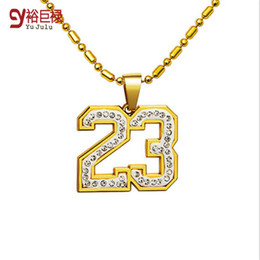 Wholesale Roman Numerals Numbers - 2016 High Quality Mens womens Hip hop 18K Real Gold Plated Crystal Numbers 23 Roman Numerals Pendants Necklace Basketball Jewelry Men