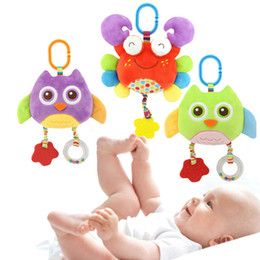 Wholesale Owl Baby Doll - Baby Rattle Plush Toy Crab Owl Lathe Ring Bell Hanging Bells For Bed With 2 Wind Chimes Soft Baby Early Educational Doll