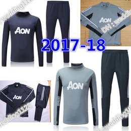 Wholesale New Suits - New 2017 Man Utd Survetement POGBA football tracksuit training kits Soccer Chandal 17 18 LUKAKU united jscket training pant sweater suit