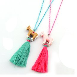 Wholesale Children S Charms - Cute fashion Europe and the United States popular jewelry three - dimensional unicorn tassel good friends children 's necklace