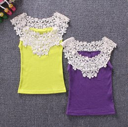 Wholesale Girls Lace Back Top - Girl's Vest Baby Lace Tops Shorts Baby Vest Girl T-shirt 2 Side Front Back Hollow carved Shirts