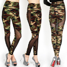 Wholesale Camouflage Leggings Wholesale - Sexy Women Fashion Mesh Camouflage Leggings High Waist Patchwork Stretchy Slim Army Camo Leggings Female Fitness Leggings