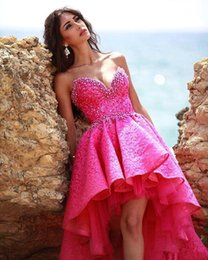 Wholesale Hi Lo Dresses Sweetheart Purple - 2017 Sexy Short Hi-Lo Cocktail Party Dresses Sweetheart Backless with Lace Crystals Rhinestones Prom Homecoming Dresses