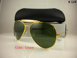 Wholesale Gold Sunglasses Fashion New - High quality sunglasses brand designer fashion New 62MM sunglass Mens Womens sun glasses gold green lens For box And case Free Shipping