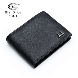 Wholesale Interior Products - Wholesale- Qianxilu Brand 2016 100% Genuine Leather Mens Wallet Cowhide Wallets for Man Short Black Premium product Portefeuille Homme Cuir