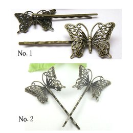 Wholesale Hair Clips Blanks - 100pcsWholesale Antique Bronze TWO SHAPES Filigree Butterfly-shaped Tray Barrette Hair Clip Blank DIY Hair Accessories for Women