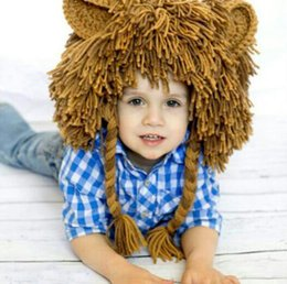 Wholesale Kids Hip Hop Accessories - New Autumn Winter Baby Boys Hip Hop Lion Hat Kids Funny Knitted Caps Tassels Braided Hair Handmade Knitting Hats Children Accessory 12528