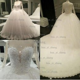 Wholesale Transparent Satin - Real Image Wedding Dress 2016 Ball Gown Sheer Sweetheart Long Transparent Sleeve Puffy Chapel Train Bridal Dresses Dhyz 01