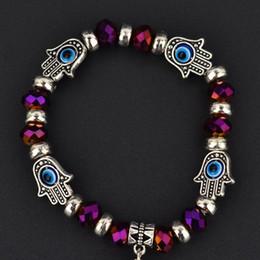 Wholesale Blue Hamsa Hand Bracelet - Charm Bracelets Fashion Simple Evil Eye Hamsa hand religious charm blue beads Lucky bracelet Best Match Turkish bracelet for women