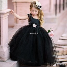 Wholesale Girls Puffy Tulle Skirt - Sweety Black 2017 Ball Gown Flower Girls Dresses Puffy Tulle lace cap sleeves Open Back 2018 Cheap Girls Tulle Tiered skirts Communion Dress