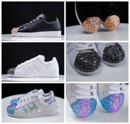 Wholesale Metal Sneakers - New Superstar Metal Toe Black White Hologram Iridescent Women Men Running Shoes Sneaker Originals Super Star Tennis Sport Run Shoes With Box