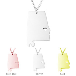Wholesale Alabama Charms - Wholesale 2016 fashion Alabama State Necklace Name Necklace Charm Card Cut out Stainless Steel Jewelry America Christmas Gift