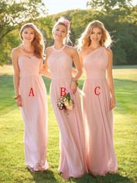 long red bridesmaid dresses one shoulder Promo Codes - Bare Pink Mismatched 2019 A line Bridesmaid Dresses One-Shoulder Sweetheart sleeveless Zipper Pleats Chiffon Empire Maid of the Honor Dress