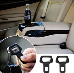 Wholesale Seat Belts Buckles Cars - Dual-use Car Safety belt Clip Car Seat Belt Buckle Vehicle-mounted Bottle Openers Black Hot Selling