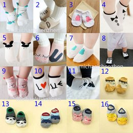 Wholesale Girls Panda Shorts - 16 Style 2016 Baby fox Short cotton socks 0-4Years Boys girls cotton cartoon lovely fox rabbit panda stripe Animal Prints socks B001