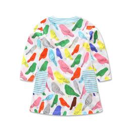 Wholesale Girls Cartoon Summer - Everweekend Girls Cute Cartoon Birds Print Cotton Dress Spring Fall Sweet Children Clothing