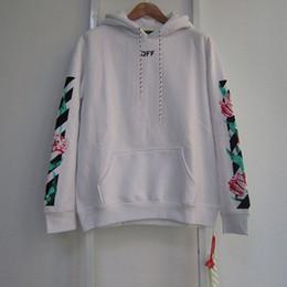 Wholesale Designer Hoodie Women - OFF WHITE Tulips Hoodie Stripes Arrows Print Pullover Sweatshirts Men Women Oversized Fleece Hoodies Designer Hooded Sweater Coat PXG0705