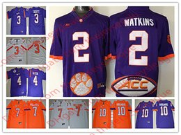 NCAA Hombres Clemson Tigers College Jersey   2 Watkins 3 Scott 4 Watson 7  Williams 10 Boulware Blanco Naranja púrpura cosido Jerseys S-3XL 9542eab04