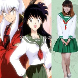 Wholesale School Girl Uniform Anime - Wholesale-Anime Inuyasha Higurashi Kagome Cosplay Costumes Girls School Uniform Women Sailor Suits