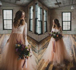 Discount wedding dress crystal sash blush - New Country A Line Wedding Dresses with Long Sleeves Lace Blush Tulle V-Neck 2017 Bohemia Wedding Plus Size Wedding Gowns Cheap