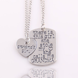 Wholesale Best Grandpa - Wholesale- Best gift heart love There is girl she stole my heart She call me grandma mommy grandpa daddy nana Necklace Pendant women set