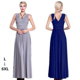 Wholesale Elegant Big Size Dress - L-6XL super deep V sexy big swing dress sleeveless backless big size long dresses milk silk high waist elegant women dresses