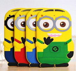 Wholesale Minions Ipad Case - 2015 Lovely Cute Kids Protective Shockproof 3D Cartoon Soft Silicone Minion Case Cover For iPad mini 1 2 3 7.9 inch
