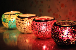 Wholesale Mosaic Candle Holders For Weddings - Crystal Glass Mosaic Glass Candle Holders European-Style Candlelight Creative Tealight Votive Holder For Wedding Home deco