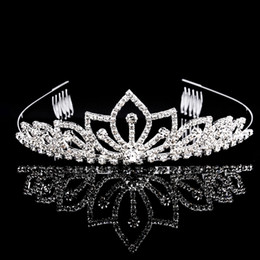 Wholesale Sterling Silver Bone - Beautiful Shiny Tiaras And Crowns Golden Quinceanera King Pageant Princess Bride Queen Girls Party Wedding Hair Accessories