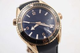 Wholesale Planet Ocean Sapphire - Hot Sell Luxury Brand NEW Gold Case Sea Planet Ocean men gift automatic movement glass back transparent Rubber original clasp watch