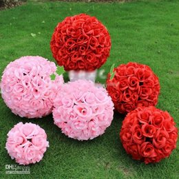 Wholesale Pink Pomander - White red pink color 20cm  8 inch Wedding Decorations Silk Kissing Pomander rose Flowers Balls Wedding bouquet Free Shipping