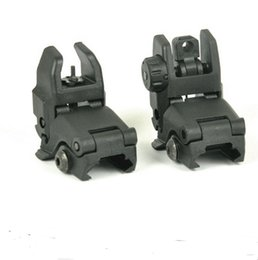 Wholesale Wholesale Rear Sights - Tactical Unmark 20mm Polymer Front And Rear Folding Back Up Sight For Airsoft Black Sand