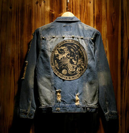 Wholesale Neck Patch - Tide Men's Denim Jacket Tiger Head Patch Coat Do The Old Vintage Washed Slim Hole Jean Jacket Outerwear