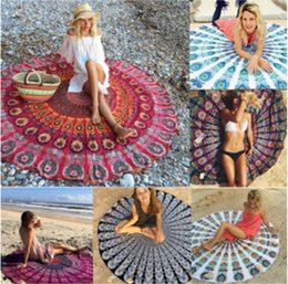 Wholesale Wholesale Cotton Bath Beach Towel - Large Printed Round Beach 150cm Yoga Towels Sunbath Chiffon Beach Swimming Bath Towel Blanket Bohemia Toallas 46 Designs 100pcs