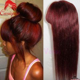 perruques de dentelle bang rouge Promotion Rouge 99j Soyeux Droite Full Lace Perruques avec Bangs Sans Colle Sans Malaisie Vierge de Cheveux Humains Full Lace Front Perruques Droite Pour BlacK Femmes