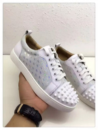 Wholesale Junior Wedding Shoes - Party Wedding Shoes Women&Men Red bottom Sneaker Print and Spiked Louies Junior Skateboard Shoes Low Top