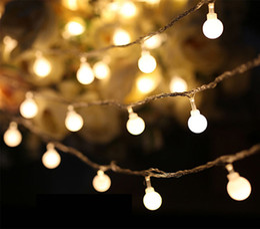 Wholesale Dragon Curtains - 2017 Ball Multicolor LED String Lights Indoor 40led Battery powered LED Dragon Ball Christmas Garlands Holiday Light Wedding Lantern Lightin