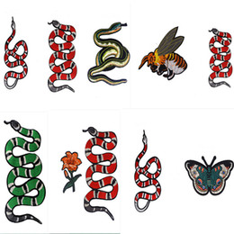 Wholesale Sewing Appliques - embroidered patches combo sew-on or iron-on snake bee butterfly flower patterns zakka appliques DIY patchowrk