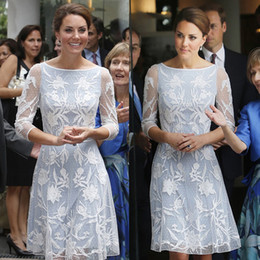 Wholesale Kate Middleton Fashion Style - Women's Dress Middleton Princess Kate Fashion same style White on Blue Lace Dress OL Half Sleeve White Lace Casual Dress
