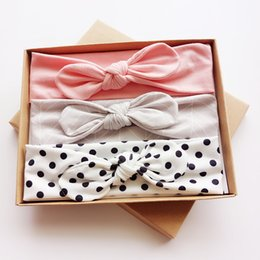 Wholesale Leather Gift Boxes Wholesale - FedEx DHL Free 3PCS Set Fashion Kids hair bands Girls Headband Mix Styles Dots Headwear Flower Bowknot Headband with Gift Box Stripe colors