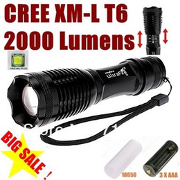 Wholesale led flashlights for sale - New Arrival Black Ultrafire LED Flashlights Durable Cree XML T6 LED Torches for Camping 2000 Lumen Aluminum Alloy Material Hot Sale XML3T6
