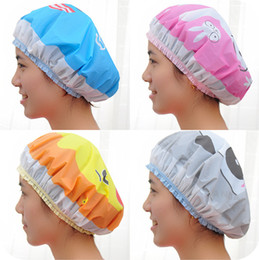 Wholesale Wholesale Shower Caps - 12pcs lot Kawaii Cartoon PVC waterproof Shower Caps Bathroom Products Home & Garden