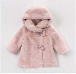 Wholesale Wholesale Toddler Faux Fur Coats - Infants coat Winter cute baby Girls fur pure color bows outwears Toddler kids hooded velvet long sleeve coat fashion baby warm clothes