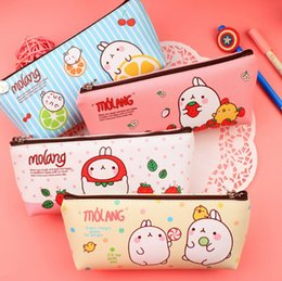 Wholesale Cute Rabbit Leather Case - Wholesale-Cute Molang Rabbit PU Leather Pencil Case Stationery Storage Box School Office Supply Escolar Papelaria Gift Stationery