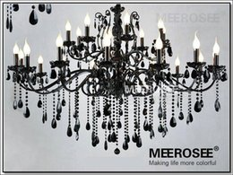 Wholesale Art Glass Hanging Lamp - Vintage Black 24 Arms Chandelier Crystal Light Fixture Large American Princess Wrought Iron Lustre Hanging Lamp MD2520 L24