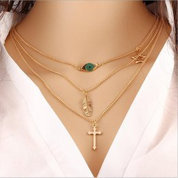 Wholesale Turquoise Leaf Necklace - Metal The cross necklace Collarbone chain fashion accessories pendant necklace multilayer leaf necklace geometric short necklace free ship