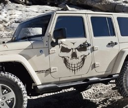 Wholesale Cars Big Sticker - 1 PC Big Size 40x36CM Punisher Skull Head car sticker Engine hood door window truck Car styling Reflective decals and stickers